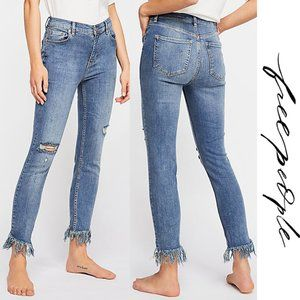 Free People Great Heights Frayed Skinny Jeans 25